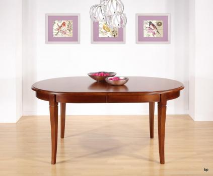 Table Ovale de salle à manger   en Merisier Massif de style Louis Philippe 180x120 avec 3 allonges