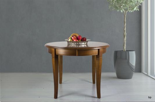 Table ronde 4 pieds Juliette  en Merisier Massif de style Louis Philippe Diamètre 100 cm