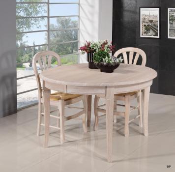 Table ronde   en Chêne massif de style Louis Philippe Diamètre 110 + 5 allonges Finition Chêne Brossé (14 personnes)