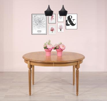 Table ovale 110x135  en Chêne Massif de style Louis Philippe 10 allonges de 40 cm Avec ses allonges cette table mesure 535x110 Finition Chêne Naturel patiné SEULEMENT 1 DISPONIBLE