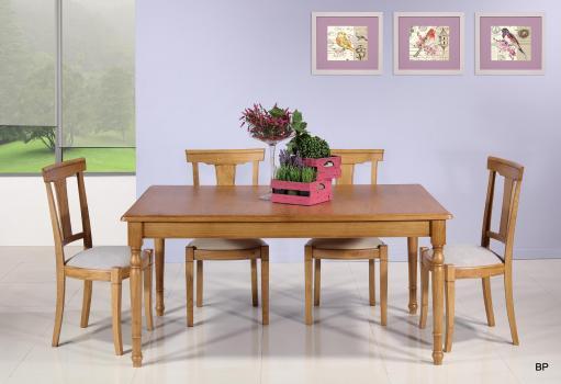 Table Rectangulaire 160*100 en Chêne massif de style Louis Philippe 2 allonges de 40 cm Finition chêne doré SEULEMENT 1 DISPONIBLE