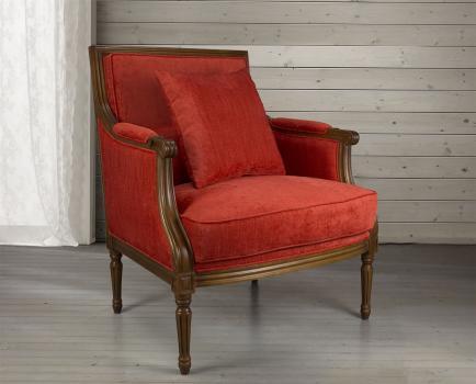 Fauteuil  de style Louis XVI  en hêtre massif  Tissu Rouge