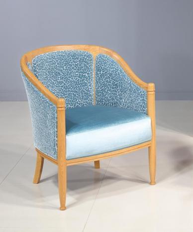 Fauteuil Cabriolet   en Chêne Massif de style Louis Philippe Bleu MMP