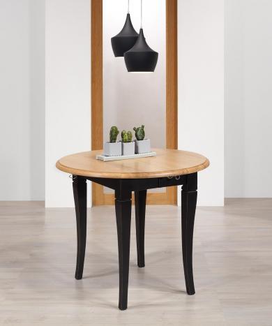 Table ronde à volets  en chêne massif de style Louis Philippe avec 2 allonges de 40 cm Diamètres 80