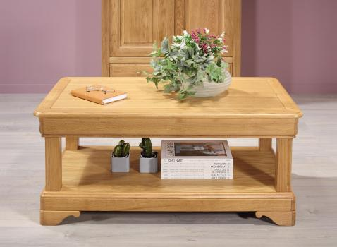 Table basse Eliot  en Chêne de style Louis Philippe 1 tiroir de chaque coté