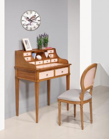 Bonheur du jour   en Merisier de style Directoire Surface d'écriture et tiroirs Rose Poudré