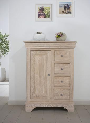 Farinier 1 porte 5 tiroirs Jean  en Chêne Massif de style Louis Philippe SEULEMENT 1 DISPONIBLE