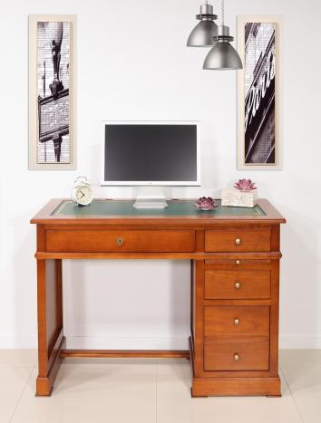 Petit Bureau Lucie réalisé en Merisier de style Louis Philippe Surface d'écriture moleskine VERTE