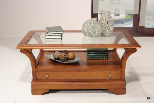 Table Basse   en Merisier Massif de style Louis Philippe Plateau Verre