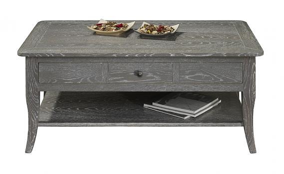 Table basse rectangulaire 100x60 COLLECTION LISA  en Chêne de style directoire FINITION CHENE GRISE/BLANCHI ANTIQUAIRE