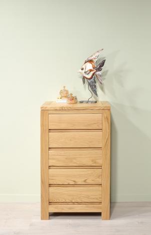 Petite commode 5 tiroirs Collection Nature  en Chêne Massif Finition chêne naturel