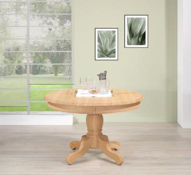 Table ronde pied central  en Chêne Massif de style Louis Philippe DIAMETRE 120  Finition chêne brossé Naturel