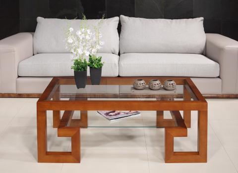 Table basse rectangulaire Alice de ligne Contemporaine, réalisée en merisier massif et verre