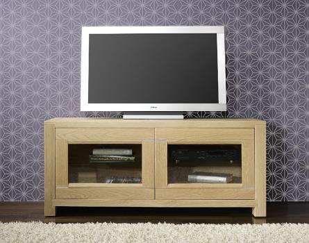 Meuble TV 2 portes Vitrées Loann  en chêne massif de style Contemporain Finition Chêne Brossé Naturel