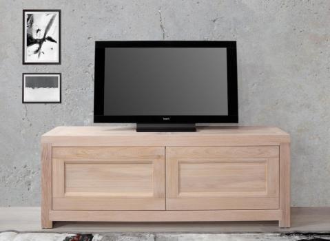 Meuble TV 2 portes Nahel  en chêne massif de style Contemporain Longueur 120 cm
