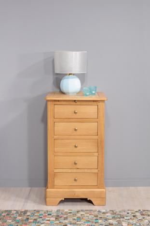Chiffonnier 5 tiroirs  en chêne massif de style Louis Philippe SEULEMENT 1 DISPONIBLE (finition chêne naturel)