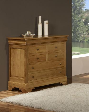 Commode 7 tiroirs  en chêne massif de style Louis Philippe Finition chêne doré