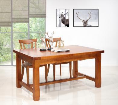 Table de ferme rectangulaire Mathis  en MERISIER massif 140x100 + 2 allonges de 40 cm