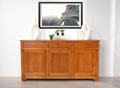 Buffet 3 portes 3 tiroirs Marthe  en merisier massif de style Directoire