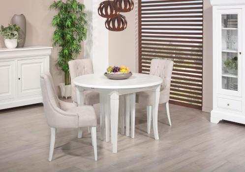 Table ronde   DIAMETRE 120 réalisée en Chêne massif de style Louis Philippe 10 allonges de 40 cm (24 personnes)
