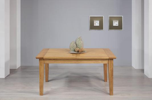 Table Rectangulaire Loïc  en Chêne Massif 160*100 + 2 allonges de 40 cm Finition chêne naturel SEULEMENT 1 DISPONIBLE