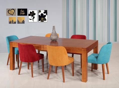 Table de repas rectangulaire Laure  en merisier Ligne Contemporaine 210x100 avec 5 allonges Total Longueur allonges en place 5 mètres