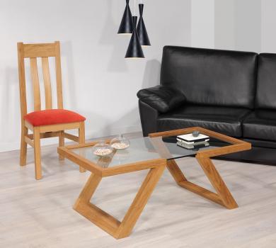 Table basse Tanguy réalisée en chêne de style contemporain Finition chêne Naturel Patiné