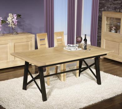 Table rectangulaire Loann  en Chêne et Fer 190x100 avec 2 allonges de 45 cm