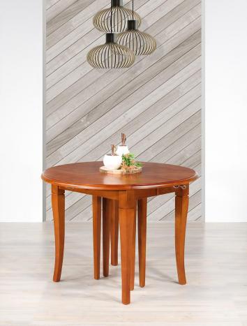 Table ronde à volets diamètre 105 cm  en Merisier massif de style Louis Philippe 5 allonges de 40 cm