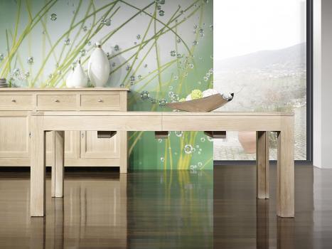 Table de repas rectangulaire 200x100  en chêne Ligne Contemporaine avec ses 5 allonges Total Longueur 5 mètres