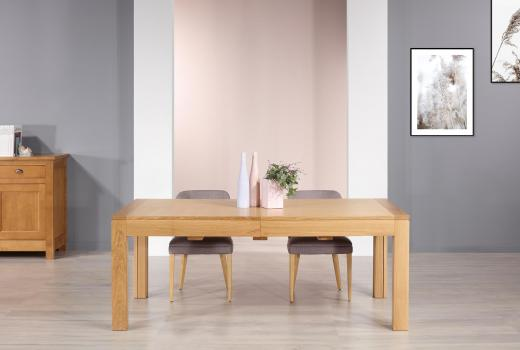 Table de repas rectangulaire Jean réalisée en chêne Ligne Contemporaine 200x100 avec ses 5 allonges Total Longueur 5 mètres