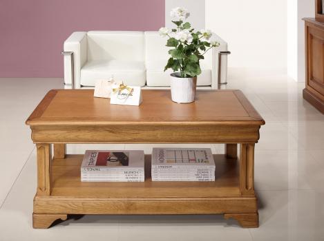 Table basse  en Chêne de style Louis Philippe 1 tiroir de chaque coté Finition Chêne Doré Patine Antiquaire