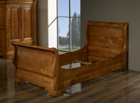 Lit Bateau Camille 90x190  en Merisier Massif de style Louis Philippe