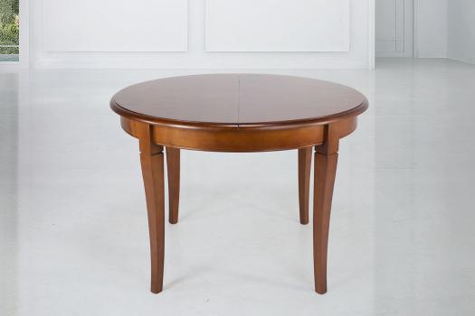Table ronde 4 pieds juliette, réalisée en merisier massif de style louis philippe diamètre 120 seulement 1 disponible