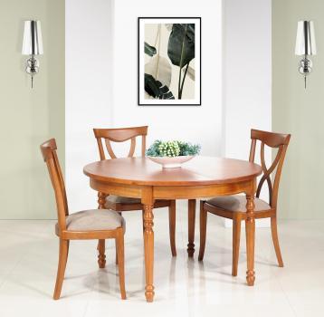 Table ronde   en Merisier Massif de style Louis Philippe 4 pieds tournés Diamètre 120 1 allonge portefeuille de 50 cm SEULEMENT 1 DISPONIBLE