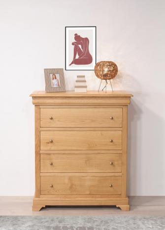 Commode 4 tiroirs Nathan  en Chêne de style Louis Philippe SEULEMENT 1 DISPONIBLE