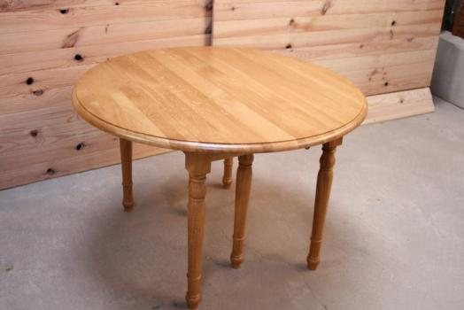 Table ronde à volets Alain  en chêne massif de style Louis Philippe 4 allonges DIAMETRE 100 Finition Chêne Brossé Naturel