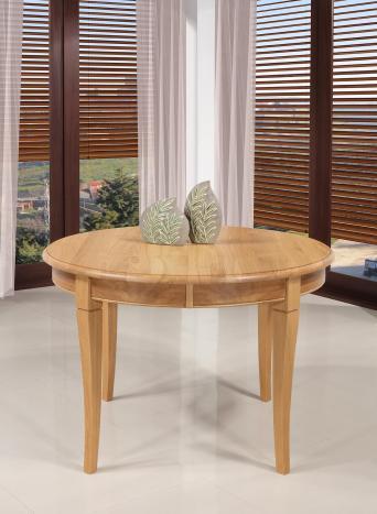 Table ronde   en Chêne massif de style Louis Philippe Diamètre 120 + 3 allonges de 40 cm