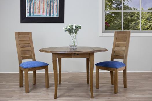 Table ronde à volets  en Chêne Massif de style Louis Philippe Diamètre 110  + 2 allonges de 40 cm