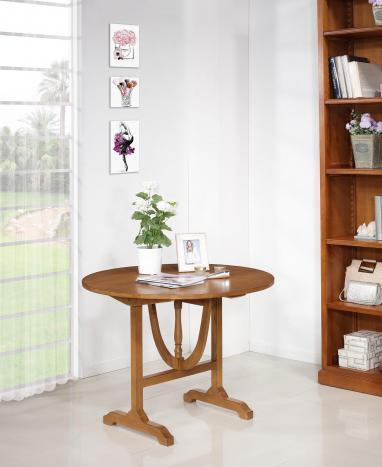 Table ronde pliante Diamètre 100 cm réalisée en chêne massif
