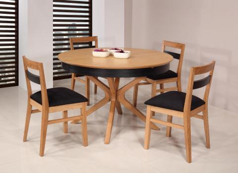 Table ronde Contemporaine Romain diamètre 120 cm  en chêne avec un pieds central et 1 allonge portefeuille de 50 cm