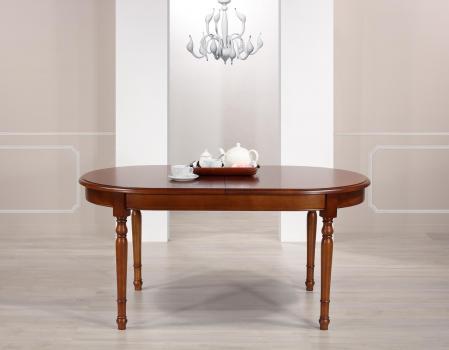 Table ovale Muriel 160*90 réalisée en Merisier Massif de style Louis Philippe 2 allonges incorporées de 40 cm Finition Merisier doré patine antiquaire (léger vieillissement du bois) DERNIERE DISPONIBLE