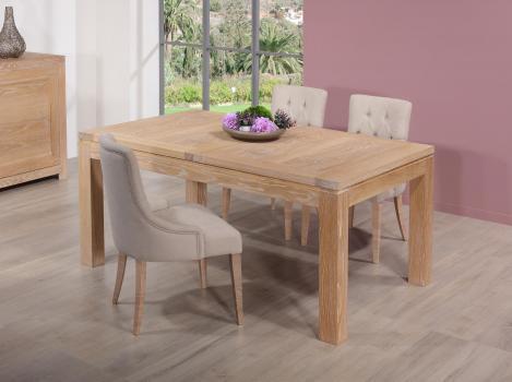 Table de repas rectangulaire 160X100 Théo réalisée en Chêne Ligne Contemporaine Finition Chêne brossé naturel