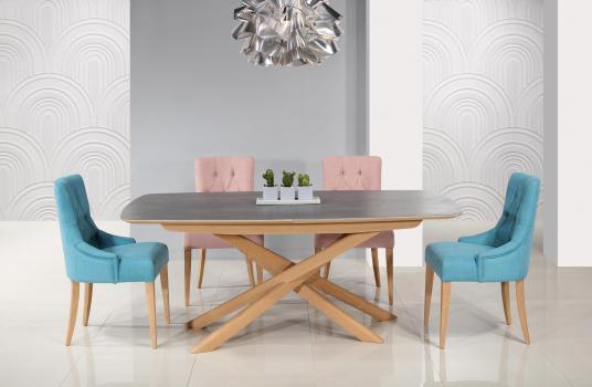 Table rectangulaire Stéphane réalisée en chêne pour le pieds, céramique pour le plateau et l'allonge Finition Chêne Brossé Naturel Céramique IRON GREY