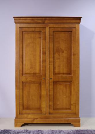 Armoire 2 portes Mélodie réalisée en Merisier Massif de style Louis Philippe 132 cm de large SEULEMENT 1 DISPONIBLE
