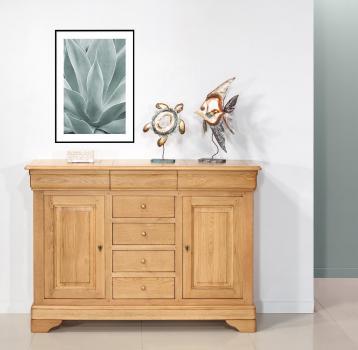 Petit buffet  2 portes 7 tiroirs en Chêne Massif de style Louis Philippe Finition Chêne naturel Antik
