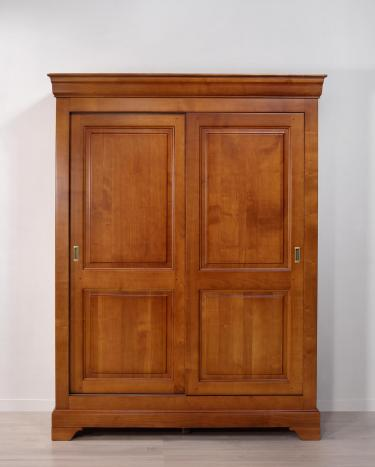 Armoire 2 portes Clara  en Merisier Massif de style Louis Philippe Portes coulissantes
