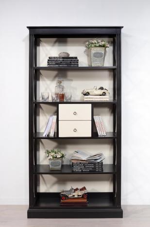 Bibliothèque croisillons 4 étagères et 2 tiroirs réalisée en Merisier Bi-color
