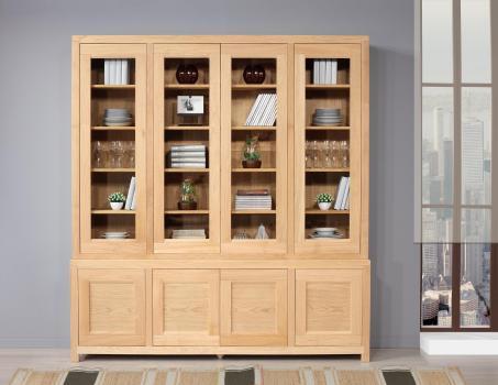 Bibliothèque 2 corps Rafael  en Chêne de style contemporain 4 portes vitrées