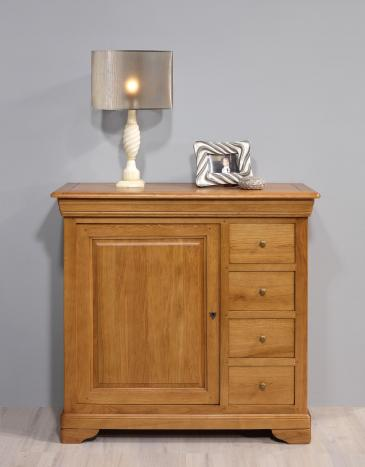Meuble de rangement 1 porte 5 tiroirs Jean  en Chêne Massif de style Louis Philippe Longueur 110 cm SEULEMENT 1 DISPONIBLE